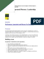 Employee Appraisal Phrases Leadership Skills