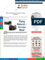 What is Killed Carbon Steel for Piping Material
