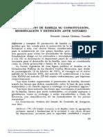 El patrimonio de familia su constitución, modificación y extinción ante notario.