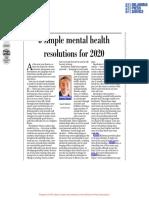 6 simple mental health resolutions for 2020 - NAMI OK/ Edmond Sun