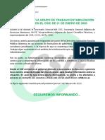 NOTA INFORMATIVA ESTABILIZACION 21 DE ENERO 2020