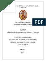 ANALISIS METALOGRAFICO DE PERNOS Y TUERCAS