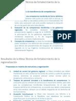 Resultados de la Mesa Técnica de fortalecimiento de la regionalización