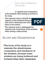 Students Capacity and Cooperation during Class Activities