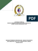 cover Laporan kinerja BOD desa sukadaya Tahun 2018