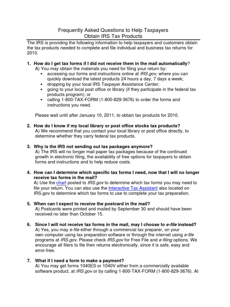 Faqs for Tax Forms 102510 | Irs Tax Forms | Tax Return (United States)