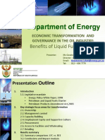 Economic Transformation and Governance in Oil Industry Benefits of Liquid Fuels Charter