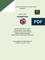PLAN DE ÁREA DE MATEMÁTICAS 2019 INSTITUCIÓN EDUCATIVA TÉCNICA ALFONSO LÓPEZ PUMAREJO (2020)