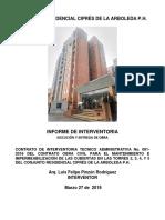 INFORME DE INTERVENTORIA ENTREGA DE OBRA - CIPRES