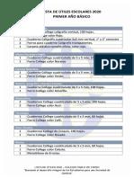 lista de útiles 1° básico 2020