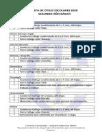 lista de útiles 2° básico 2020