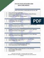 lista de útiles 6° básico 2020