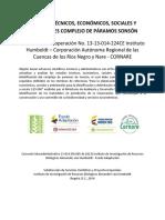 Estudios, Técnicos Económicos, sociales y Ambientales Complejo de Paramos SONSÓN