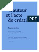 """Rapport Racine """"L'auteur et l'acte de création"""""""