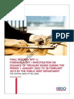 Forensic Audit Report RFP 1 on CBSL Bond Scam