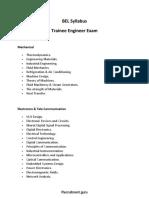 BEL Trainee Engineer Syllabus