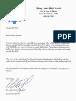 Lanier Letter to Parents