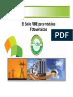 El Sello FIDE para módulos Fotovoltaicos