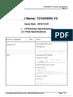 Datasheet panel T315XW04 V3