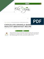 Chocolate Granola Bars | Healthy Breakfast Recipe - Elavegan