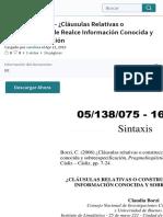 05138075 BORZI - ¿Cláusulas Relativas o Construcciones de Realce Información Conocida y Sobreespecif