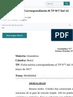 Ficha de TP Nº3 (Correspondiente Al TP Nº7 Del 10 de Mayo) | Verbo | Oración (Lingüística)