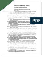 Cuestionario sobre la lectura de Eduardo Andrade
