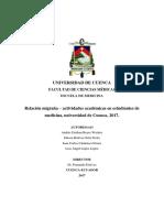 [GFEN] Relación migraña actividades académicas en estudiantes de medicina, Universidad de Cuenca, 2017