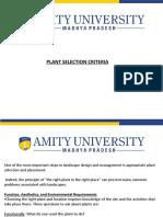 Plant Selection Criteria