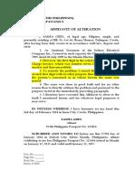 Affidavit of Alteration