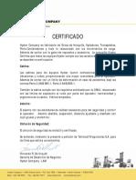 Certificado Equipos Hyster