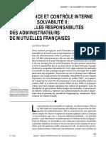 Gouvernance et contrôle interne à l'aune de Solvabilité II