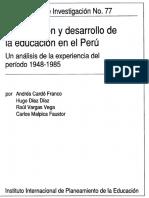 Planifcación y desarrollo de la educación en el Perú
