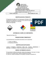 HOJA DE  SEGURIDAD FICHA TOXICOLOGICA   HIPOCLORITO DE SODIO AL 5% NTC 4435