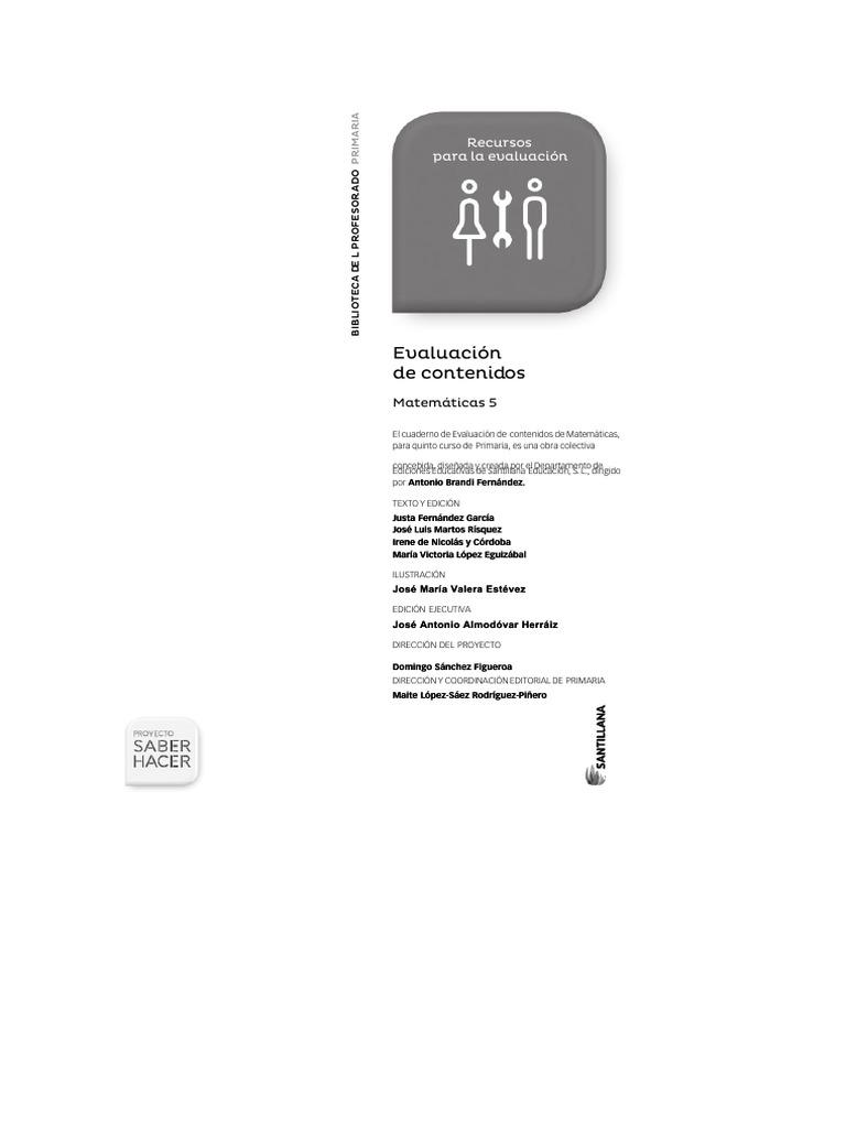 386711541 5 Matema Ticas Saber Hacer Evaluacio N De Contenidos 2014 Copiar Pdf
