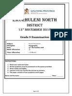 Final Grade 8 Geography November Exam 2018