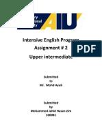 Intensive English Program Assignment 2 Upper Intermediate
