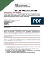 Sociología de las Organizaciones Programa de curso