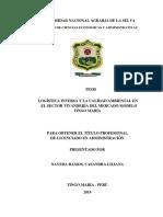 Logística inversa y la calidad ambiental en el sector vivandería del mercado modelo Tingo María