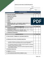 Lista de cotejo de la planeación