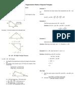 The Trigonometric Ratios of Special Triangles