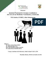 Reunión Nacional de Cuerpos Académicos del Área de la Medicina Veterinaria y Zootecnia