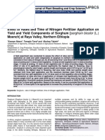 Effect of Rates and Time of Nitrogen Fertilizer Application on Yield and Yield Components of Sorghum [sorghum bicolor (L.) Moench] at Raya Valley, Northern Ethiopia