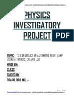 Automatic Lamp Using Transistor & LDR - Class 12 Physics Investigatory Project Free PDF Downl...docx