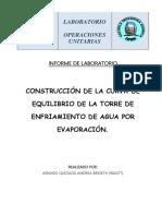Andrea Armijos-Informe 8 8 CONSTRUCCIÓN DE LA CURVA DE EQUILIBRIO DE LA TORRE DE ENFRIAMIENTO DE AGUA POR EVAPORACIÓN.
