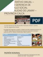 PLAN OPERATIVO ANUAL – 2020 SUB GERENCIA DE