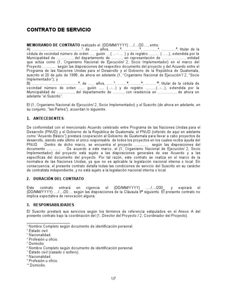 Anexo 3-D Modelo de Contrato de Servicio