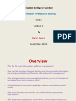 Information for Decision Making, L1, By Rahat Kazmi