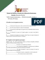 Examen de Historia y FilosofÃ_a de la Educación Dominicana sori