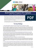 World Population Prospects 2019 - 10 Key Findings